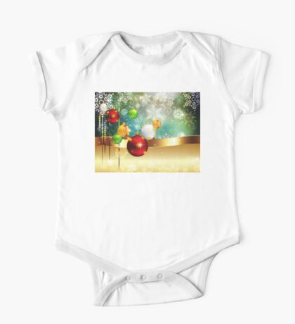 Colorful Background with Xmas Balls One Piece - Short Sleeve