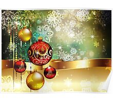 Colorful Background with Xmas Balls 2 Poster