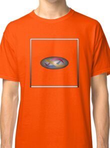 Red, gold, and blue swirls on gray gradient with white frame Classic T-Shirt