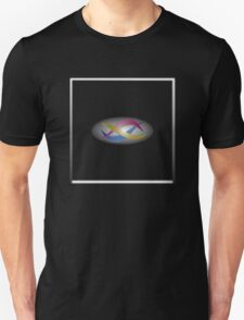 Red, gold, and blue swirls on gray gradient with white frame T-Shirt
