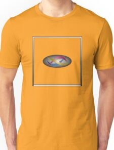 Red, gold, and blue swirls on gray gradient with white frame Unisex T-Shirt