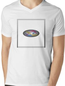 Red, gold, and blue swirls on gray gradient with white frame Mens V-Neck T-Shirt