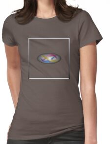 Red, gold, and blue swirls on gray gradient with white frame Womens Fitted T-Shirt