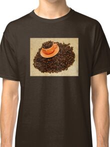 Coffee cup on coffee beans Classic T-Shirt