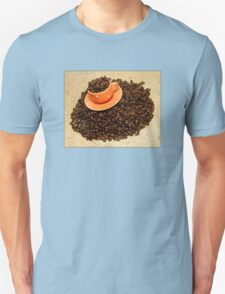 Coffee cup on coffee beans Unisex T-Shirt