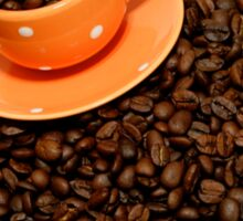 Coffee cup on coffee beans Sticker