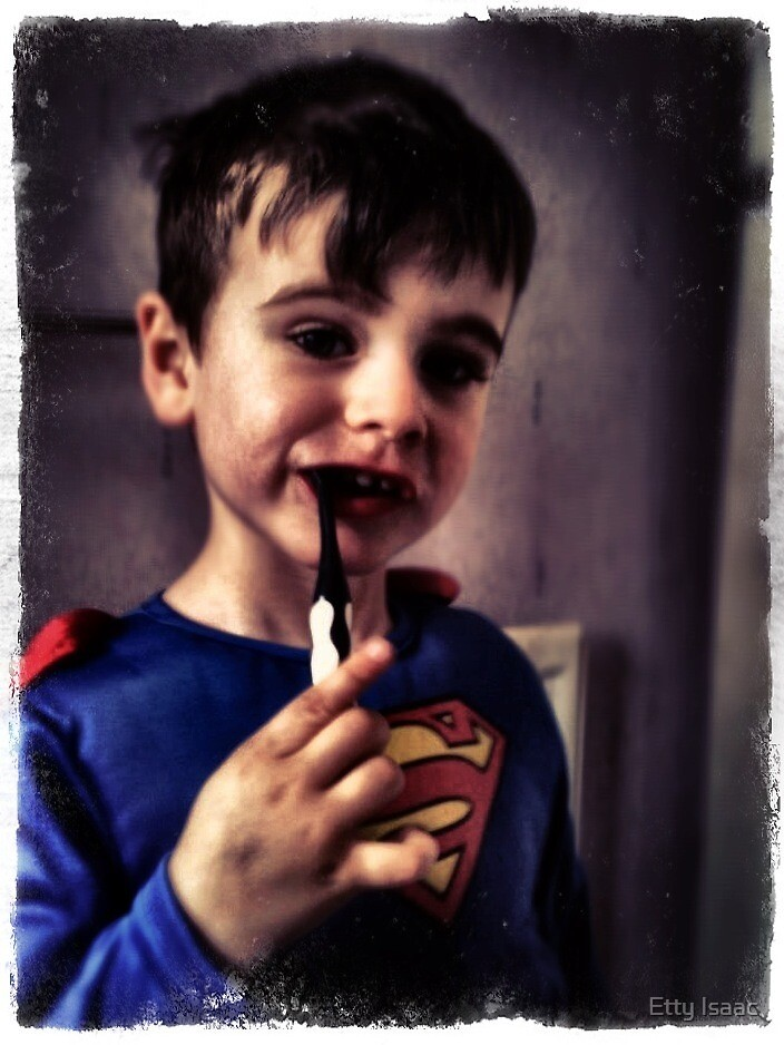 Even Superman brushes his teeth! by Etty Baruch
