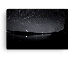 Star trails over the lake Canvas Print
