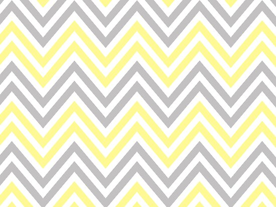 Zigzag (Chevron), Stripes - White Yellow Gray  by sitnica