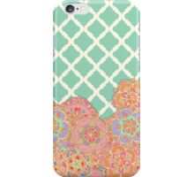Floral Doodle on Mint Moroccan Lattice iPhone Case/Skin