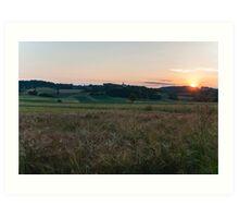 Sunset at the fields Art Print