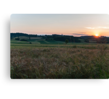 Sunset at the fields Canvas Print