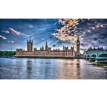 Palace of westminster with sun rays Photographic Print