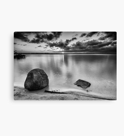 Black and white image of Wellington Point Beach Canvas Print