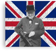 Churchill Posing With A Tommy Gun Canvas Print