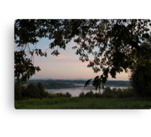 Morning fog in the valley Canvas Print