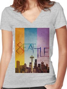 Seattle in Color Women's Fitted V-Neck T-Shirt