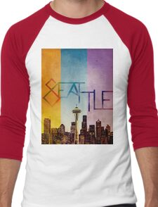 Seattle in Color Men's Baseball ¾ T-Shirt