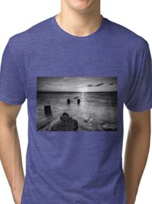 Black and white image of Wellington Point Beach Tri-blend T-Shirt