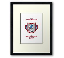 Patriots Day Greeting Card American Patriot Holding Up USA Flag Framed Print