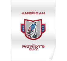Patriots Day Greeting Card American Patriot Holding Up USA Flag Poster