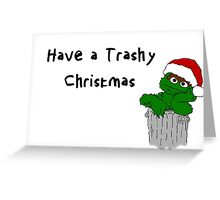 Oscar the Grouch at Christmas (light) Greeting Card