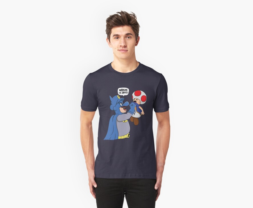 Where is she!? - Mario/Batman Shirt by Oliver Fox