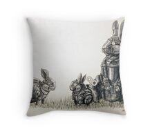 Clockwork Rabbits illustration by Ethan Yazel Throw Pillow