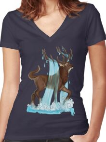 E is for Eikthyrnir Women's Fitted V-Neck T-Shirt