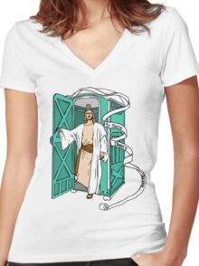 Jesus has left the thrown. Women's Fitted V-Neck T-Shirt