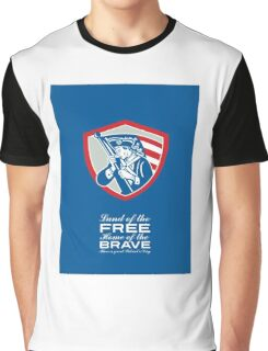 Patriots Day Greeting Card American Patriot  Waving Flag Shield Graphic T-Shirt