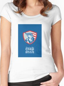 Patriots Day Greeting Card American Patriot  Waving Flag Shield Women's Fitted Scoop T-Shirt