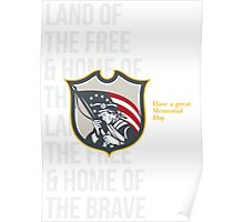 Memorial Day Greeting Card Patriot Holding American Flag Poster