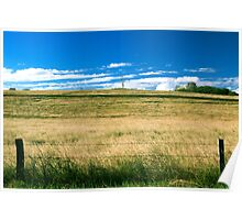 Outback mountain and field in the Scenic Rim, Queensland. Poster