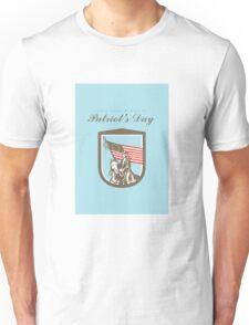 Patriots Day Greeting Card American Revolutionary Serviceman Horse Flag Unisex T-Shirt