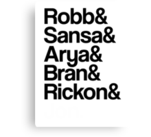 Game of Thrones: Stark Children Names Canvas Print