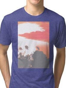 Heron silhouette by sunrise Tri-blend T-Shirt