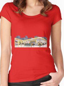 Vintage gasstation garage Women's Fitted Scoop T-Shirt