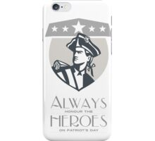 Patriots Day Greeting Card American Patriot Looking Up iPhone Case/Skin