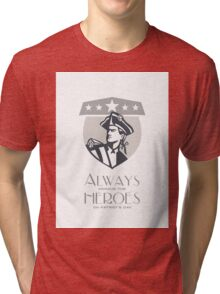 Patriots Day Greeting Card American Patriot Looking Up Tri-blend T-Shirt