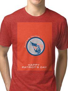 Patriots Day Greeting Card American Patriot Soldier Flag Circle Tri-blend T-Shirt