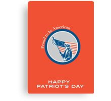 Patriots Day Greeting Card American Patriot Soldier Flag Circle Canvas Print