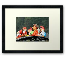 Two Joyous Gnomes and a Weird Hare Framed Print