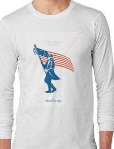 Patriots Day Greeting Card American Patriot Soldier Flag Marching Long Sleeve T-Shirt