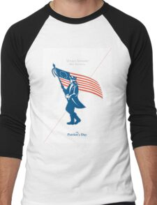 Patriots Day Greeting Card American Patriot Soldier Flag Marching Men's Baseball ¾ T-Shirt