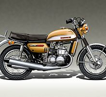 Suzuki GT750J in gold by Tony  Newland