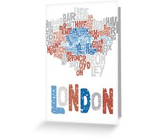 London Boroughs in Type Greeting Card