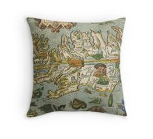 Iceland Map 1590 Throw Pillow