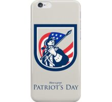 Patriots Day Greeting Card American Patriot  USA Flag Look Up Crest iPhone Case/Skin