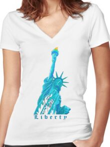 LIBERTY ! Women's Fitted V-Neck T-Shirt